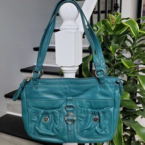 Stone Mountain Teal Leather Shoulder Bag